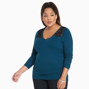 Torrid Lace Inset Teal Sweater